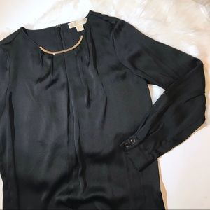 Michael Kors Black Silky Shirt with Gold Necklace